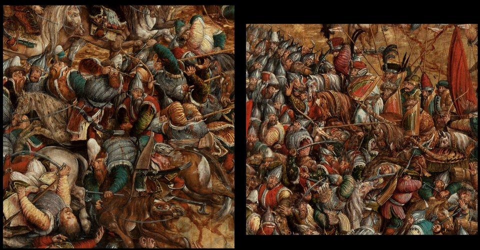 Bitwa pod Orszą - detal Na fragmentach obrazu Bitwa pod Orszą widać po prawej stronie atak polskiej jazdy, natomiast po lewej ustępujące oddziały moskiewskie. Źródło: artysta nieznany, Bitwa pod Orszą - detal, między 1525-1540, tempera na dębowej desce, Muzeum Narodowe wWarszawie, domena publiczna.