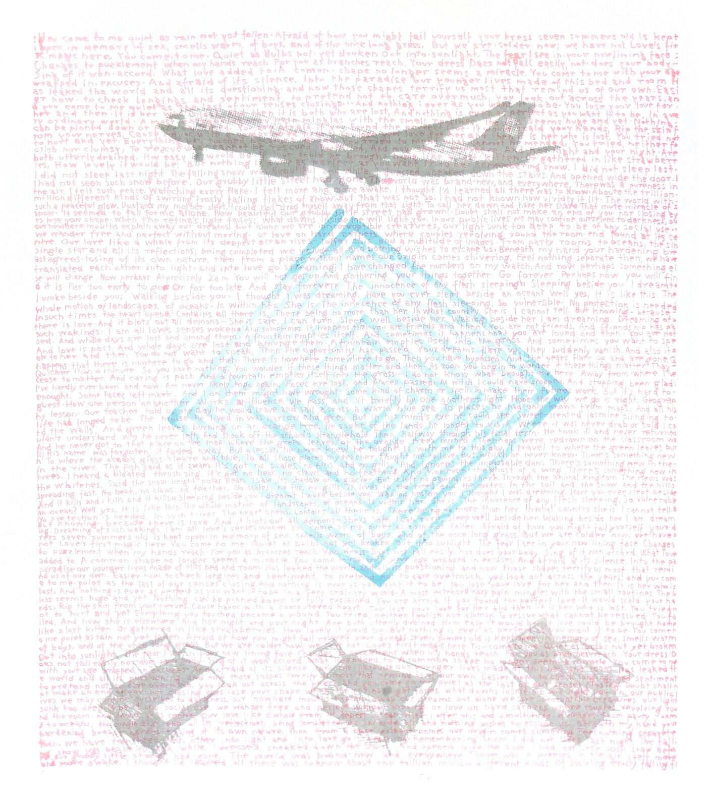 """Ilustracja przedstawia obraz """"You come to me"""" autorstwa Tomasza Barczyka. Na pokrytym drobnym, czerwonym pismem białym tle autor umieścił dużą sylwetkę szarego samolotu oraz trzy otwarte pudła. Pomiędzy znajdującym się na górze kompozycji samolotem apudłami na dole umieszczony został delikatny, błękitny kwadratowy labirynt zpojedynczą drogą idącą wgłąb jego kształtu. Praca utrzymana jest wwąskiej, biało-szaro-czerwonej gamie barw zdominantą błękitu wjej centrum."""