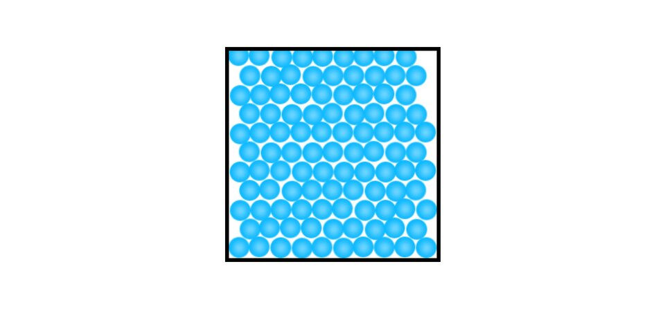 Aplikacja pokazuje ruch cząsteczek wciałach stałych. Białe tło. Na środku kwadrat. Boki kwadratu czarne, wypełnienie białe. Wśrodku kwadratu znajduje się ponad sto kółek. Kółka bardzo ciasno ułożone, wypełniają całe wnętrze kwadratu. Nie są wstanie zmienić swojego położenia. Wszystkie kółka energicznie drgają.