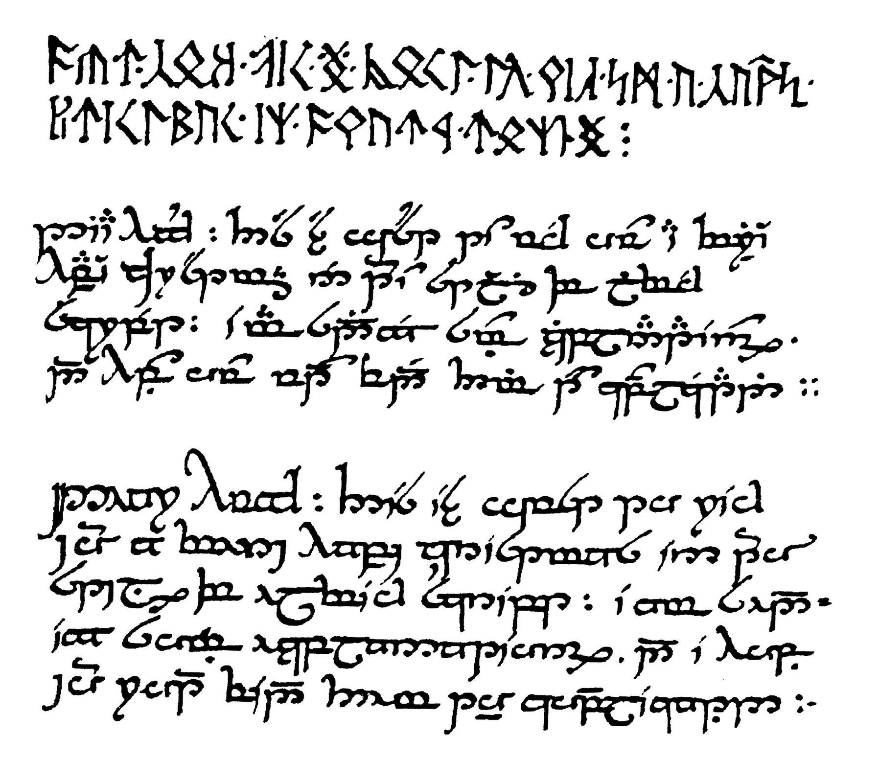 Pocztówka zkrasnoludzkimi runami ipismem Feanora