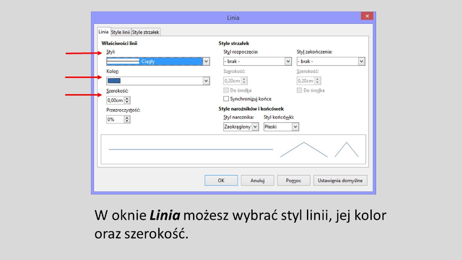 Slajd 5 galerii: Formatowanie przycisków akcji wprogramie LibreOffice Impress