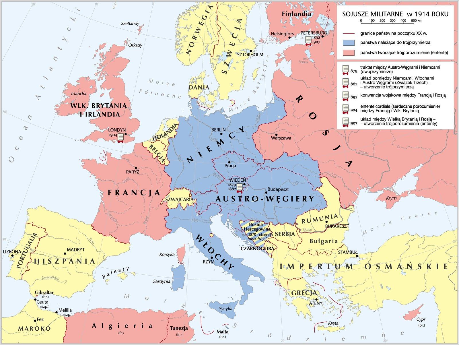 mapa Europy zprzedstawionymi sojuszami militarnymi w1914 roku