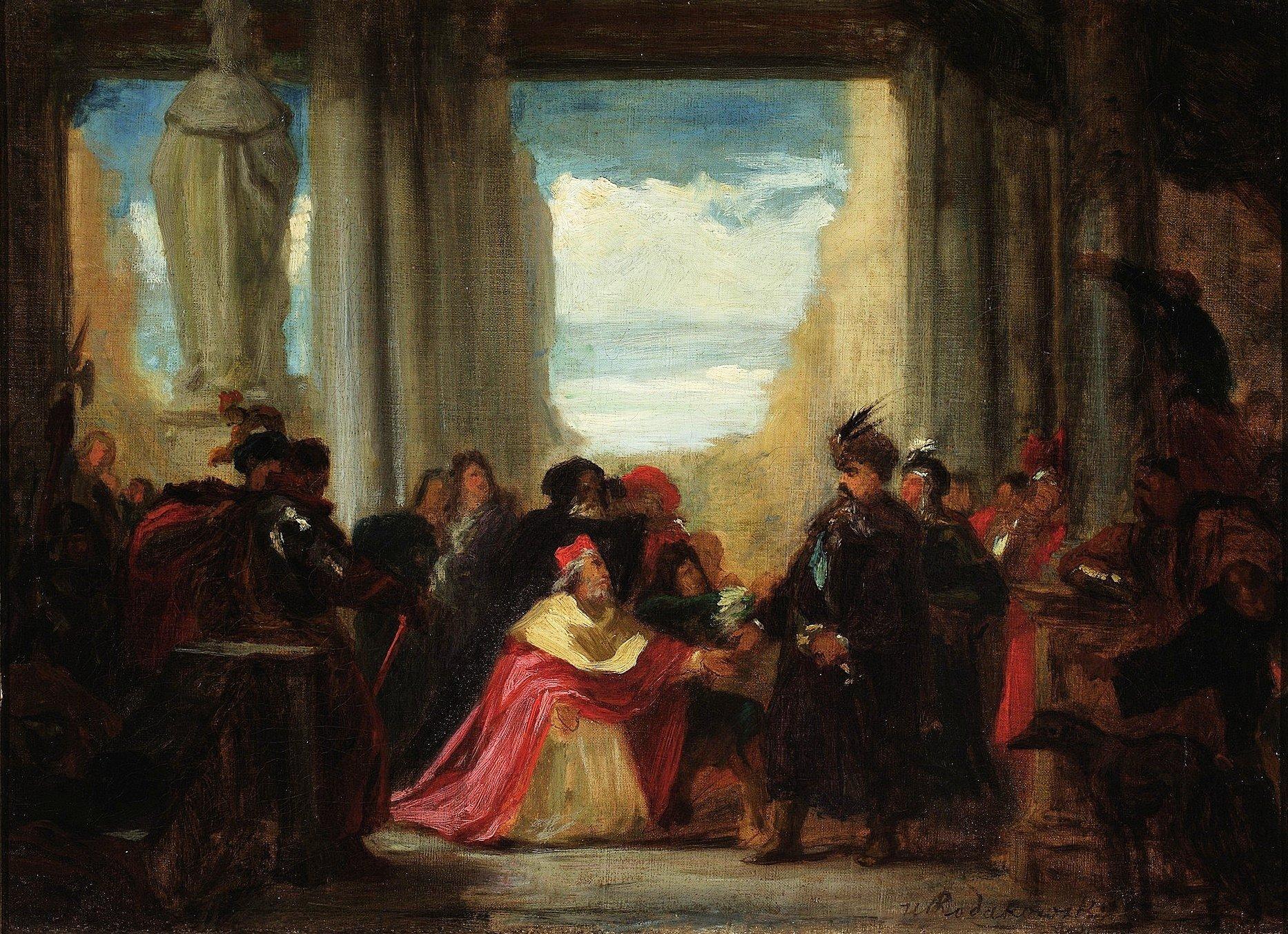 Posłowie papiescy icesarscy błagają Jana III Sobieskiego opomoc dla Wiednia Na obraziewidzimyposłów cesarskich ipapieskich, błagającychkróla polskiego Jana III Sobieskiego opomoc dla zagrożonego chrześcijaństwa. Wgrupie klęczących postaci zlewej strony kardynał inuncjusz papieski Obizzo Pallavicino, obok niego wperuce hrabia Heinrich von Wilczek, za nimi stoi kapucyn ikaznodzieja Marco d'Aviano, obok Jana III widoczny jego syn Jakub Sobieski. Źródło: Henryk Rodakowski, Posłowie papiescy icesarscy błagają Jana III Sobieskiego opomoc dla Wiednia, ok. 1860 r., olej na płótnie, Muzeum Narodowe wWarszawie.