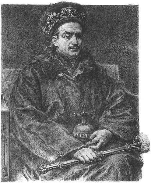 Kazimierz Jagiellończyk (ur. 1427 – zm. 1492; panował 1447 – 1492) Źródło: Jan Matejko, Kazimierz Jagiellończyk (ur. 1427 – zm. 1492; panował 1447 – 1492), rysunek, domena publiczna.