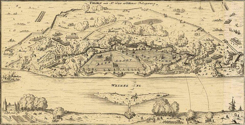 Oblężenie Torunia 1658 Głównym celem polskich planów wojennych na rok 1658 było odzyskanie Torunia, miasta okluczowym znaczeniu strategicznym, azarazem nowocześnie ufortyfikowanego. Zsiłami polsko-cesarskimi współdziałać miały wojska brandenburskie pod komendą Bogusława Radziwiłła. Wsierpniu rozpoczęto regularne oblężenie miasta, awpaździerniku rozpoczęto ostrzał artyleryjski. Szturm generalny został przypuszczony wnocy wpołowie listopada - zdobyto trzy bastiony ito przesądziło okapitulacji szwedzkiego garnizonu. Źródło: Gabriel Bodenehr, Oblężenie Torunia 1658, po 1720 r., miedzioryt, Centralna Biblioteka wZürichu, domena publiczna.