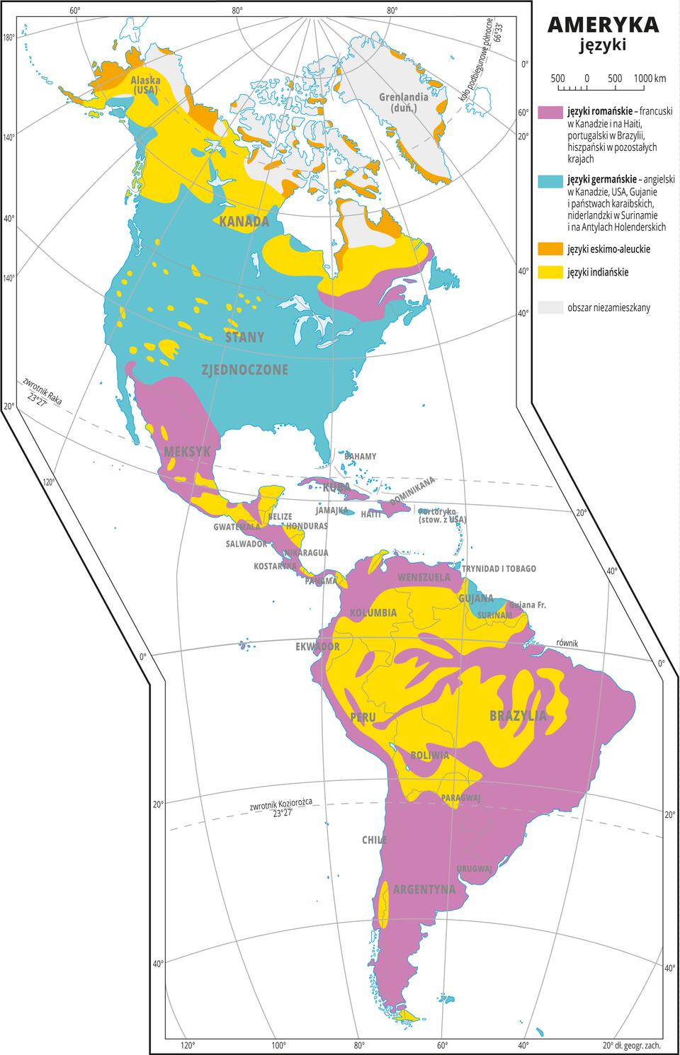 Ilustracja przedstawia mapę rozmieszczenia języków wAmeryce. Kolorami oznaczono języki: języki romańskie – francuski wKanadzie ina Haiti, portugalski wBrazylii, hiszpański wMeksyku, Wenezueli, Kolumbii. Ekwadorze, Peru, Chile, Boliwii, Paragwaju, Urugwaju iArgentynie. Języki germańskie – angielski wKanadzie, USA, Gujanie ipaństwach karaibskich, niderlandzki wSurinamie ina Antylach Holenderskich. Języki eskimo-aleuckie – na północnych krańcach Kanady ina Alasce. Języki indiańskie: północna Kanada iczęść obszarów państw położonych wdorzeczu Amazonki. Dookoła mapy wbiałej ramce opisano współrzędne geograficzne co dwadzieścia stopni. Wlegendzie umieszczono iopisano kolory użyte na mapie.