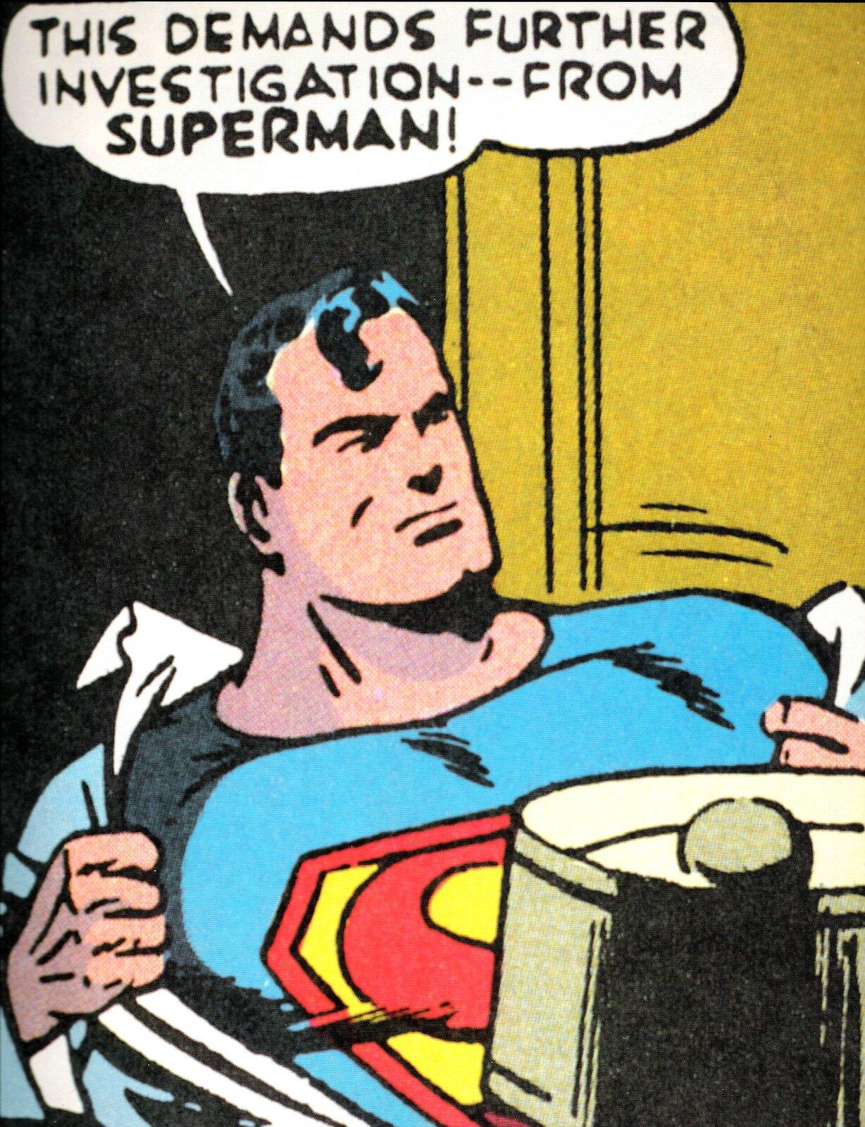 """Ilustracja przedstawia ilustrację zkomiksu Joe Shustera """"Superman"""". Główna postać szykuje się do ratowania świata. Widać jak Superman ściąga koszulę, pod którą miał już założony swój strój."""