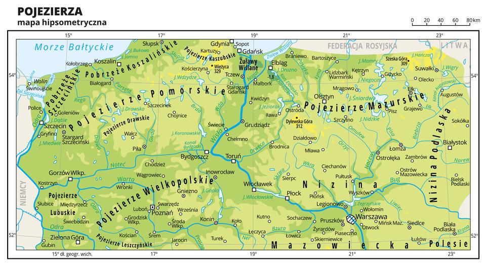 Ilustracja przedstawia mapę fragmentu Polski: mapę hipsometryczną pojezierzy. Na mapie dominuje kolor zielony. Oznaczono iopisano miasta, rzeki, jeziora iszczyty. Opisano niziny, pobrzeża ipojezierza, morze, zalewy iwyspy. Opisano państwa sąsiadujące zPolską. Dookoła mapy wbiałej ramce opisano współrzędne geograficzne co dwa stopnie.
