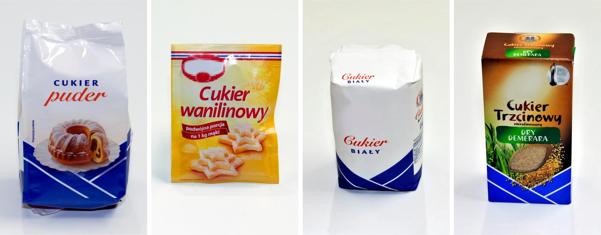 Na pierwszym zdjęciu widać cukier puder. Na drugim zdjęciu widać cukier wanilinowy. Na trzecim zdjęciu widać cukier biały, ana czwartym zdjęciu widać cukier trzcinowy