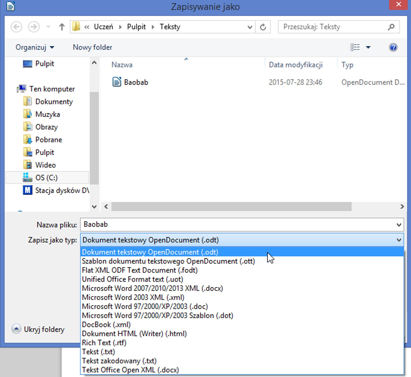 Zrzut okna: Zapisywanie jako zrozwiniętą listą: Zapisz jako typ wprogramie LibreOffice Writer
