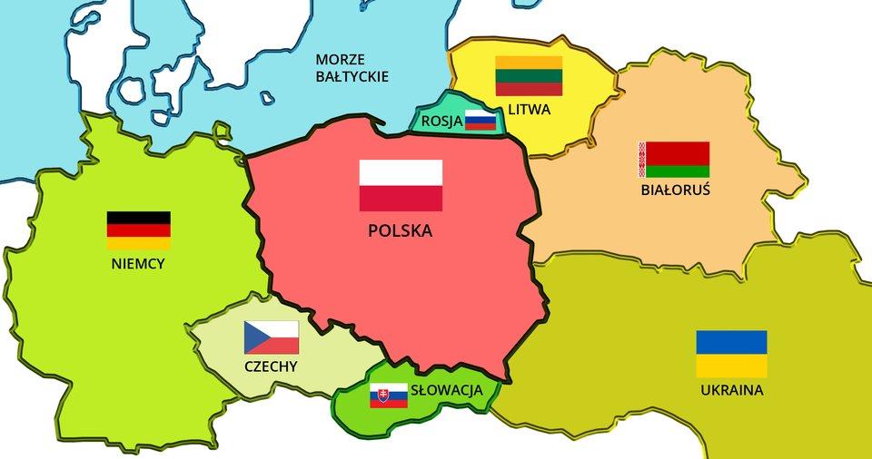 Ilustracja przedstawiająca mapę iflagę Polski ipaństw ościennych