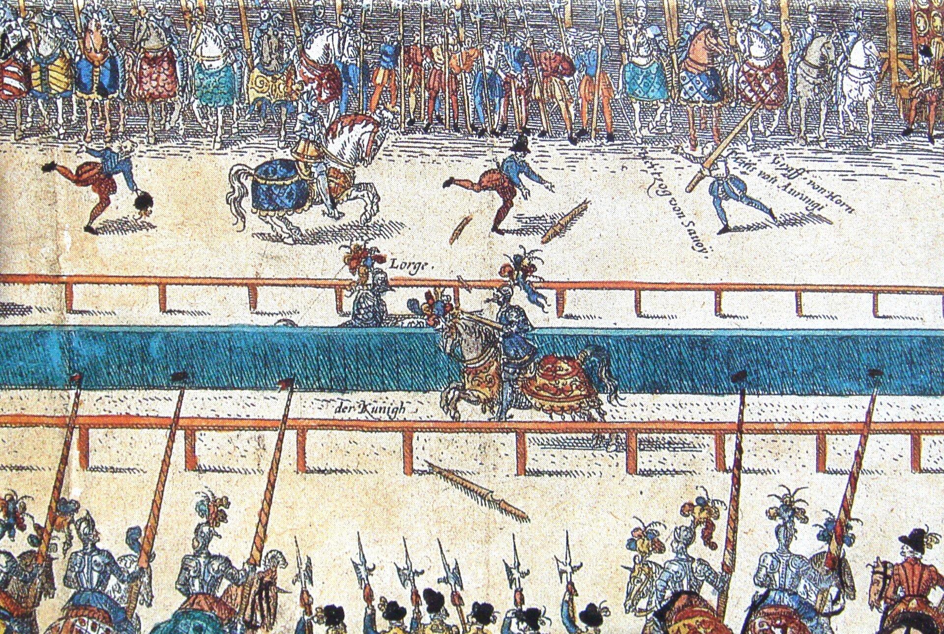 Turniej rycerski zorganizowany wParyżu w1559 r. Fragmentkolorowanej grafiki pokazujący pojedynek Henryka II króla Francji w1559 r. podczas turnieju wParyżu zokazji ślubu Elżbiety de Valois, jego córki, oraz Filipa II, króla Hiszpanii, który to związek miał przypieczętować zawarty wcześniej pokój wCateau Combrésis. Król został ranny woko fragmentem połamanej drewnianej kopii iwkrótce zmarł. Źródło: Turniej rycerski zorganizowany wParyżu w1559 r., domena publiczna.