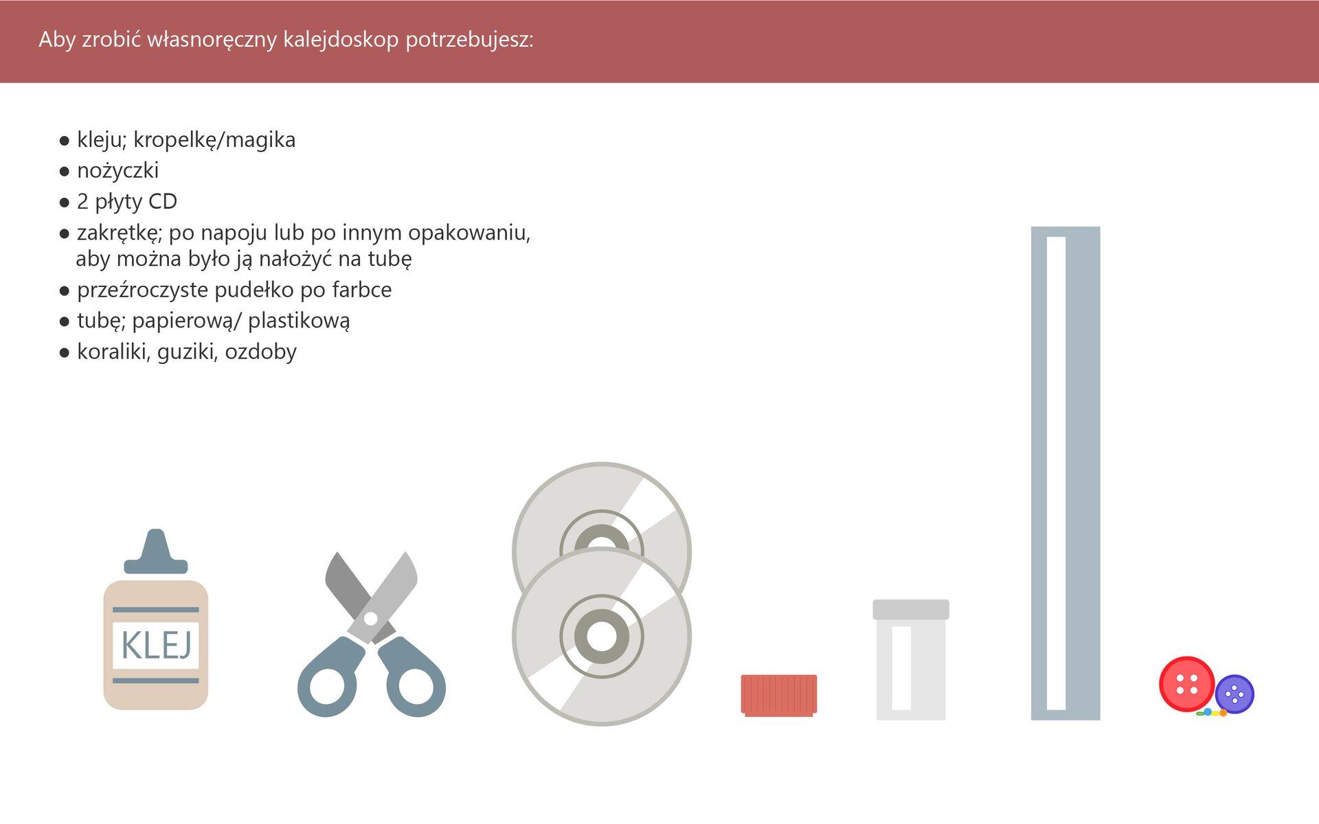 """Ilustracja przedstawia instrukcję wykonania własnego kalejdoskopu. Na górze grafiki znajduje się ramka znapisem """"Aby zrobić własny kalejdoskop potrzebujesz:"""" poniżej wymienione są potrzebne rzeczy iumieszczone ikonki ukazujące: klej, nożyczki, dwie płyty CD, zakrętka, przeźroczyste pudełko po farbie, rolkę po ręczniku papierowym, koraliki iguziki."""