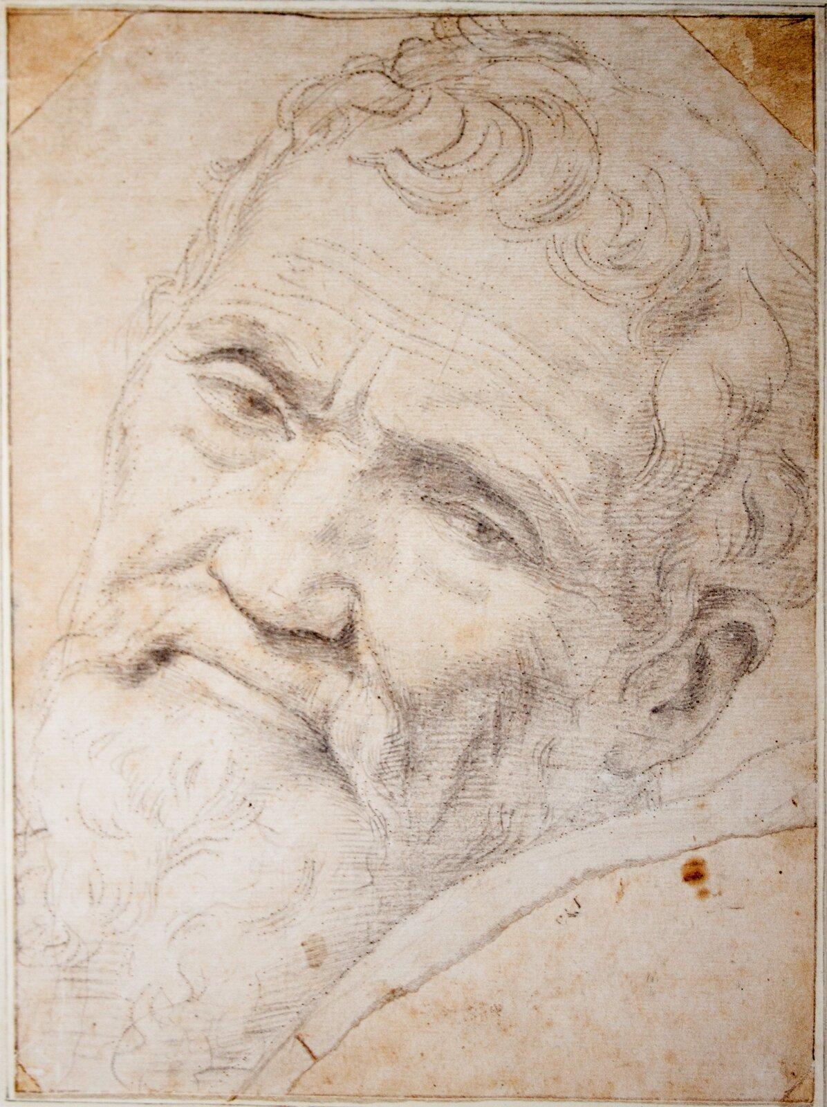 Portret Michała Anioła Rysunekucznia Michała Anioła -Daniele da Volterra Źródło: Daniele da Volterra, Portret Michała Anioła, Teylers Museum, domena publiczna.