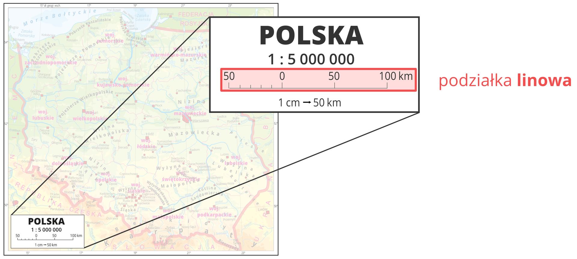 Druga ilustracja pokazuje powiększenie legendy mapy ze skalą mianowaną jeden centymetr do pięćdziesięciu kilometrów, co oznacza, że jednemu centymetrowi na mapie odpowiada pięćdziesiąt kilometrów wterenie.
