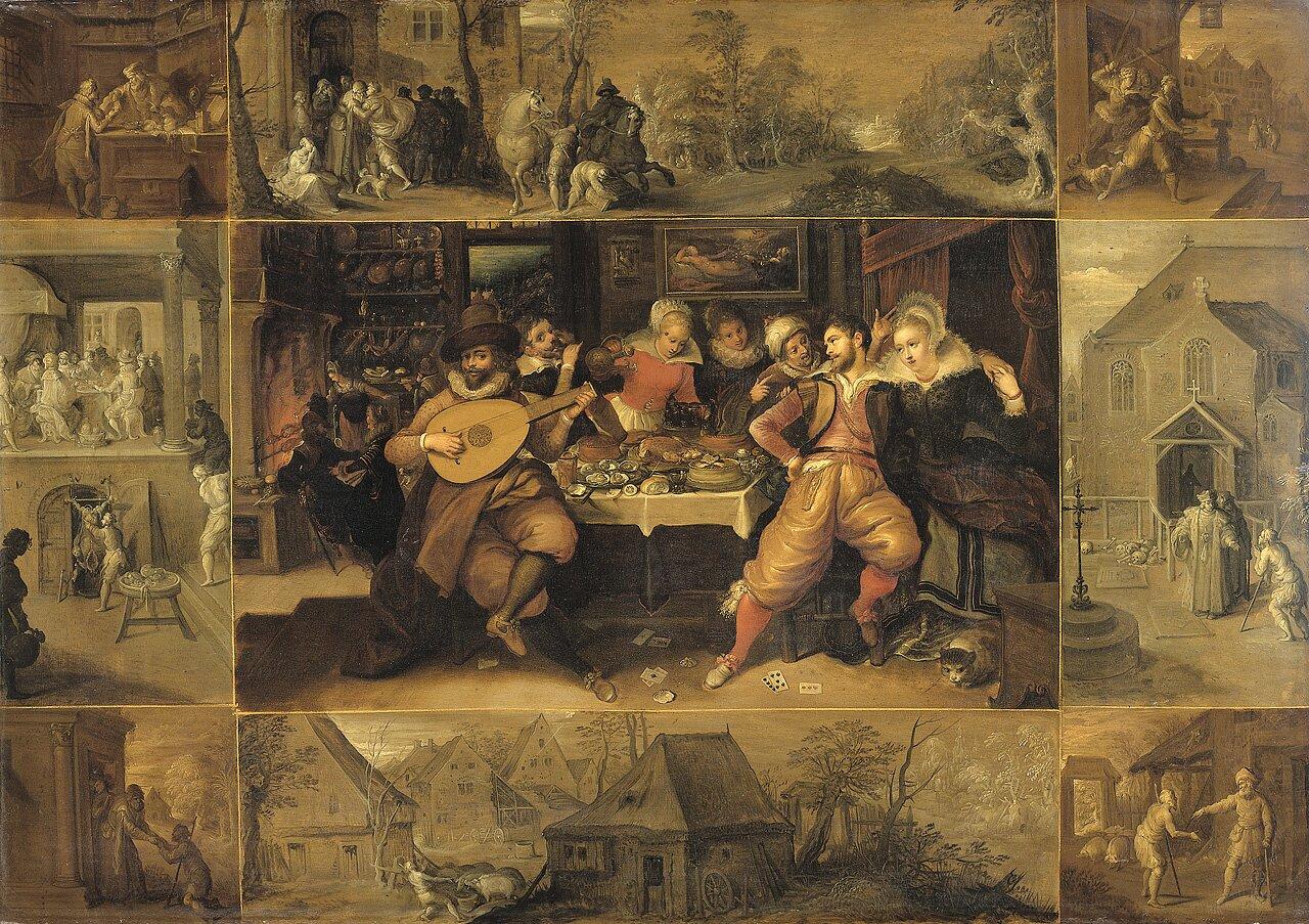 Historia syna marnotrawnego Źródło: Frans Francken II, Historia syna marnotrawnego, 1600–1620, Rijksmuseum, Amsterdam, domena publiczna.