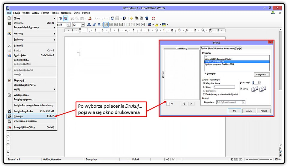 Slajd 1 galerii: Wjaki sposób przygotować wydruk dokumentu wprogramie LibreOffice Writer