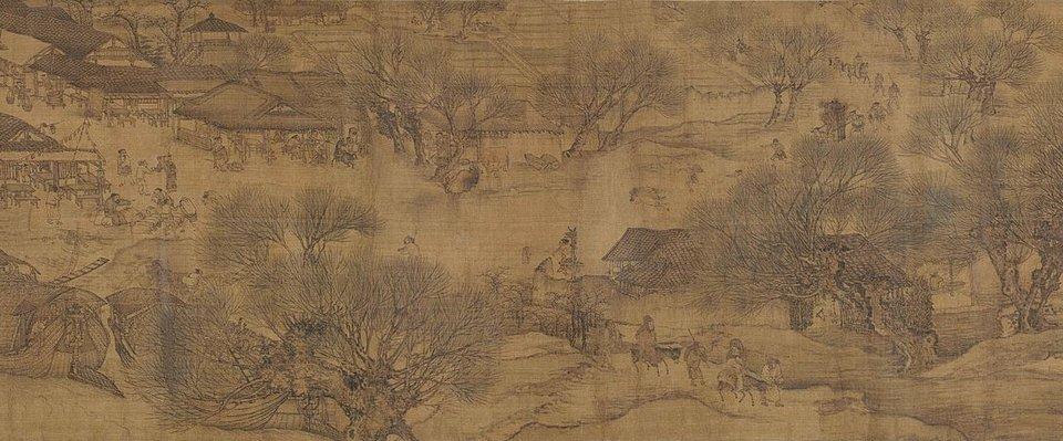 Widok wzdłuż rzeki podczas święta Qingming Widok wzdłuż rzeki podczas święta Qingming - fragment 3. Źródło: Zeduan Zhang, Widok wzdłuż rzeki podczas święta Qingming, XII w., Zakazane Miasto - muzeum wdawnym pałac cesarskim wPekinie, domena publiczna.
