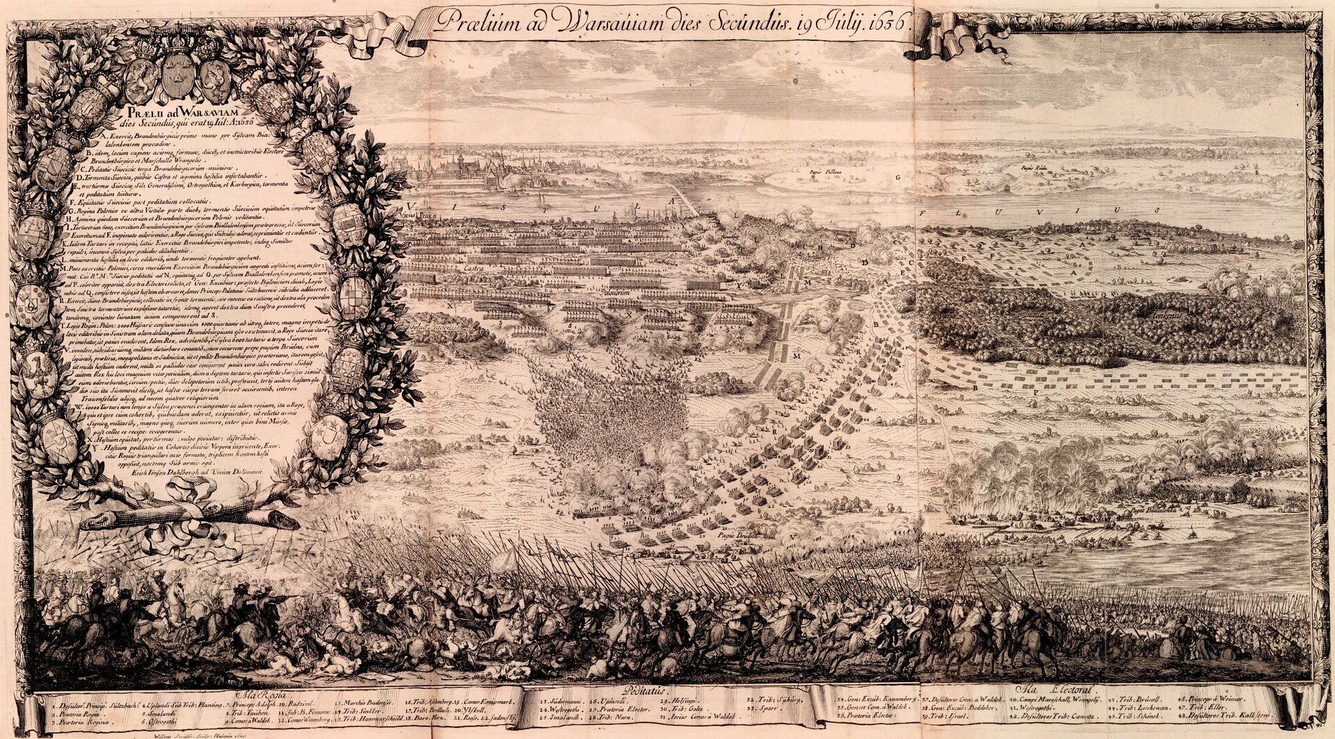 Ustawienie wojsk polsko-litewskich, wspomaganych przez Tatarów oraz szwedzko-brandenburskich wczasie drugiego dnia bitwy oWarszawę - 29 lipca 1656 roku.