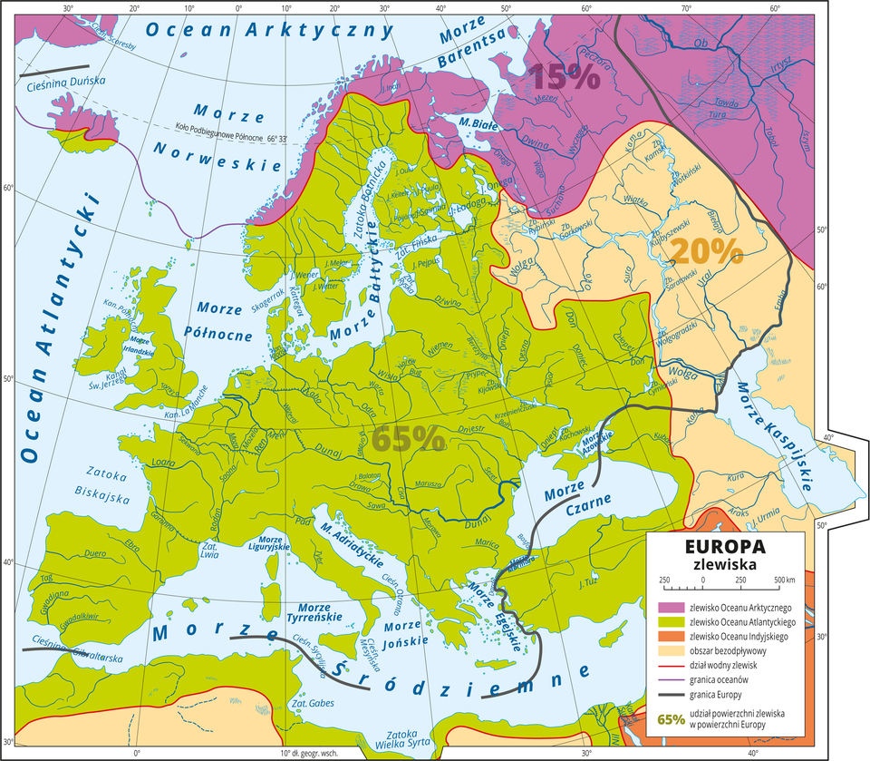 Ilustracja przedstawia mapę Europy. Kolorami przedstawiono: zlewisko Oceanu Atlantyckiego wprzeważającej części kontynentu (65 procent), zlewisko Oceanu Arktycznego na północy kontynentu (15 procent), obszar bezodpływowy we wschodniej części kontynentu (20 procent), zlewisko Oceanu Indyjskiego (niewielki obszar nie obejmuje terenu Europy). Na mapie zaznaczono: dział wodny zlewisk, granice oceanów igranice Europy. Mapa pokryta jest równoleżnikami ipołudnikami. Dookoła mapy wbiałej ramce opisano współrzędne geograficzne co dziesięć stopni. Wlegendzie umieszczono iopisano kolory użyte na mapie.