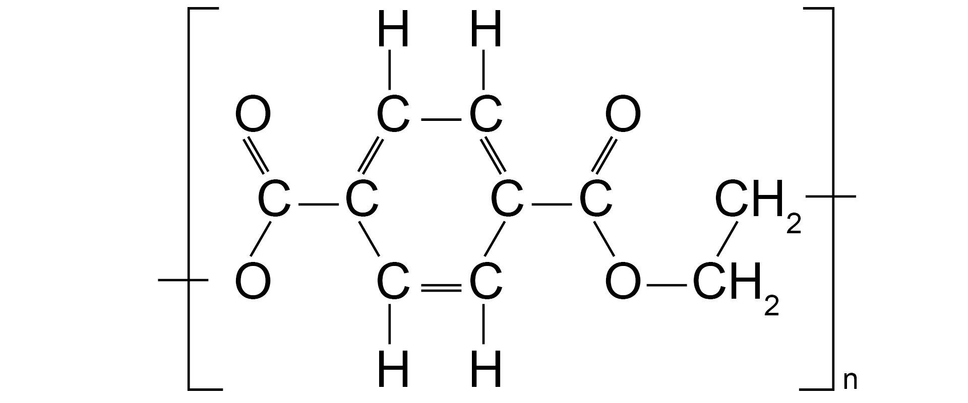 Ilustracja pokazuje wzór strukturalny politereftalanu etylenu.