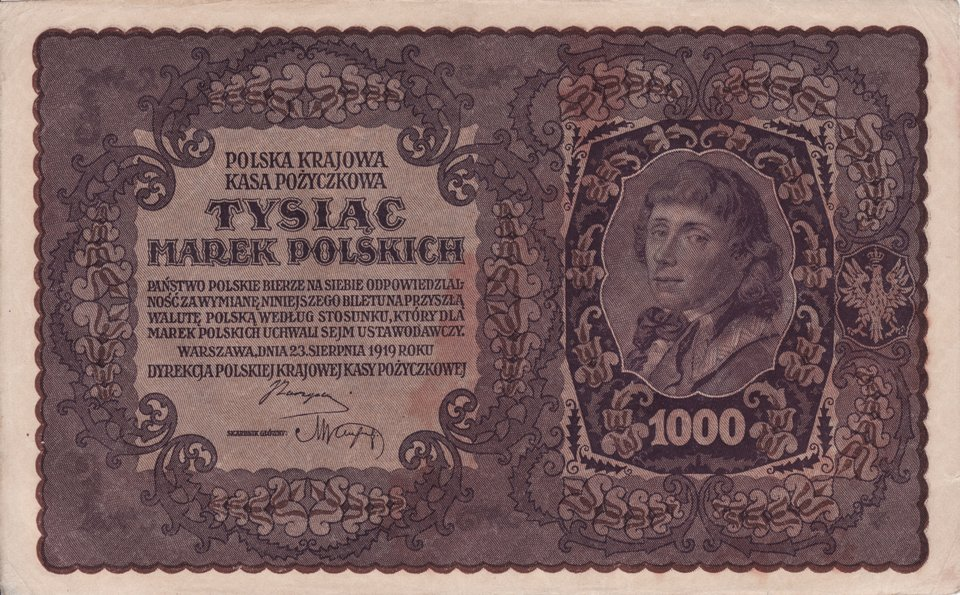 1000 marek polskich z1919 r. Źródło: 1000 marek polskich z1919 r., domena publiczna.