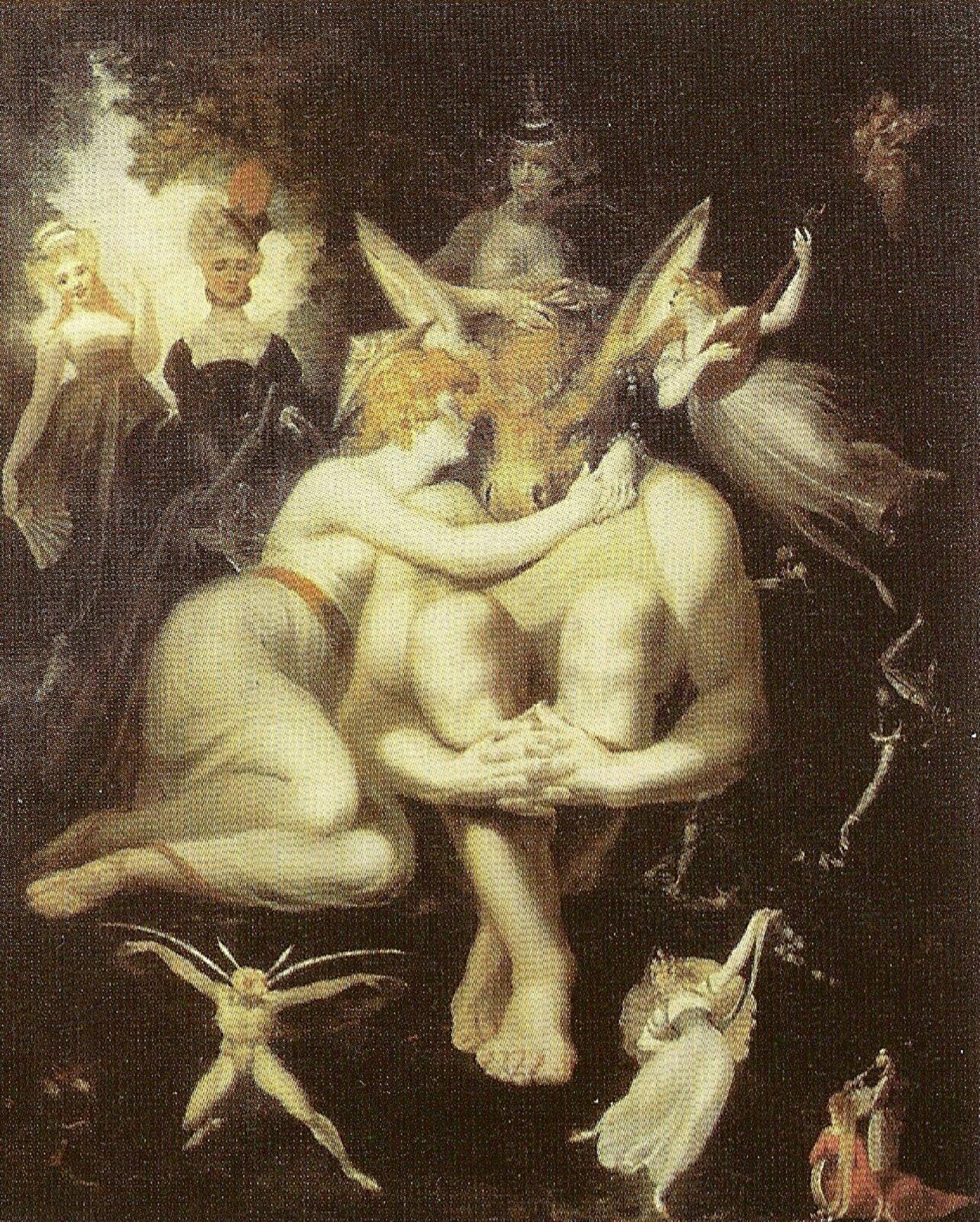 """Obraz nieznanego autora pod tytułem """"Apulejusz zmienia się wosła"""" przedstawia scenę przemiany Apulejusza wosła – mężczyzna znajduje się wcentrum obrazu, jest skulony. Jego głowa zamieniła się łeb osła, jego ciało jeszcze wygląda normalnie inie zostało poddane przemianie. Obok Apulejusza zlewej strony znajduje się rudowłosa kobieta, która tuli się do mężczyzny – jest wyraźnie smutna. Nad mężczyzną ikobietą znajduje się postać, która trzyma dłonie na sierści zmienionego mężczyzny. Zlewej strony znajdują się dwie kobiety, ubrane wdługie ciemne suknie, obie spoglądają zzaciekawieniem na sytuację. Wokół Apulejusza ijego kobiety obecne są wróżki, które tańczą zzadowolenia. Scena przemiany mężczyzny wosła odbywa się wlesie."""