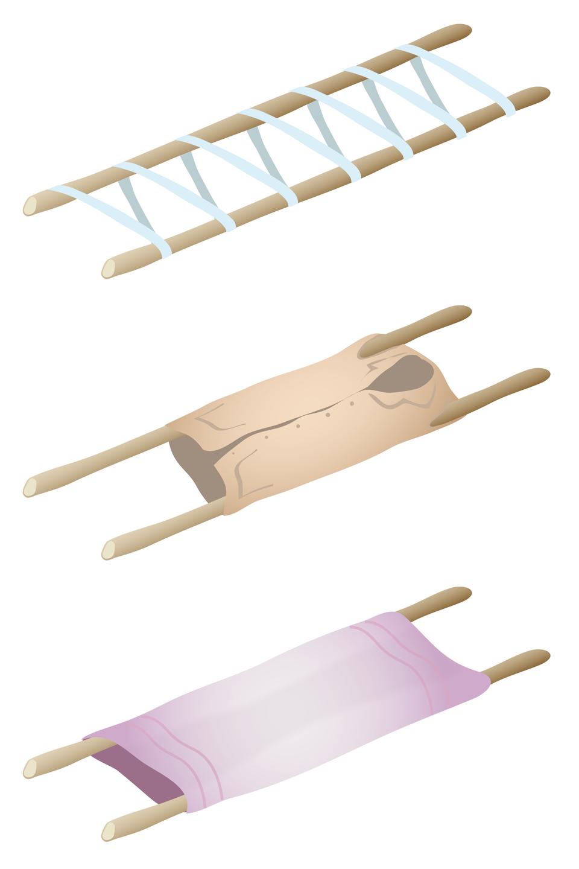 Ilustracja przedstawia trzy przykłady prowizorycznych noszy. Każde nosze zbudowane są na bazie dwóch długich kijów stanowiących stelaż. Połączenie drewnianych kijów jest różnorodne. Wpierwszym przypadku kije połączone są szerokim pasem owiniętym wokół kijów tworząc ukośną drabinkę. Wdrugim przypadku za element nośny służy duża męska koszula naciągnięta na kije przeciągnięte przez rękawy koszuli. Wtrzecim przypadku wokół kijów owinięty inaciągnięty jest gruby koc.