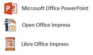 Zrzut ikon programów do tworzenia prezentacji
