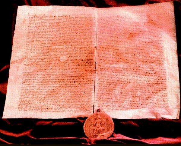 Złota Bulla króla Węgier Andrzeja, 1222 Złota Bulla króla Węgier Andrzeja, 1222 Źródło: Daviis, domena publiczna.