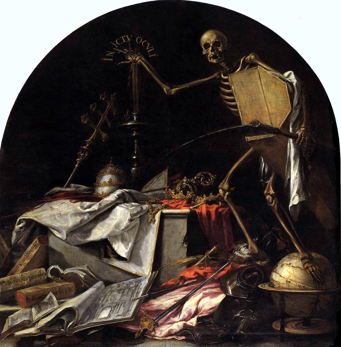 In ictu oculi Źródło: Juan Valdés Leal, In ictu oculi, 1672, olej na płótnie, Iglesia yHospital de la Caridad, Sewilla, domena publiczna.