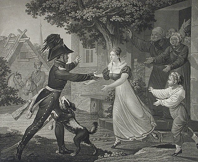 Ojczyzna jest wolna. Zwycięstwo! Źródło: Friedrich Wilhelm Meyer, Ojczyzna jest wolna. Zwycięstwo!, 1813, domena publiczna.