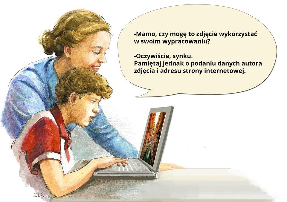 Ilustracja przedstawiająca syna zmamą rozmawiających na temat korzystania zzasobów Internetu zgodnie zprawem autorskim