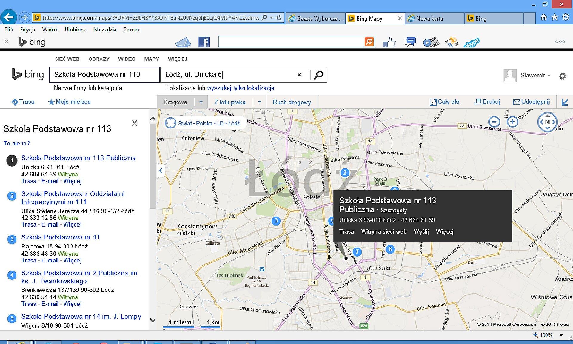 Zrzut fragmentu mapy wwyszukiwarce Bing
