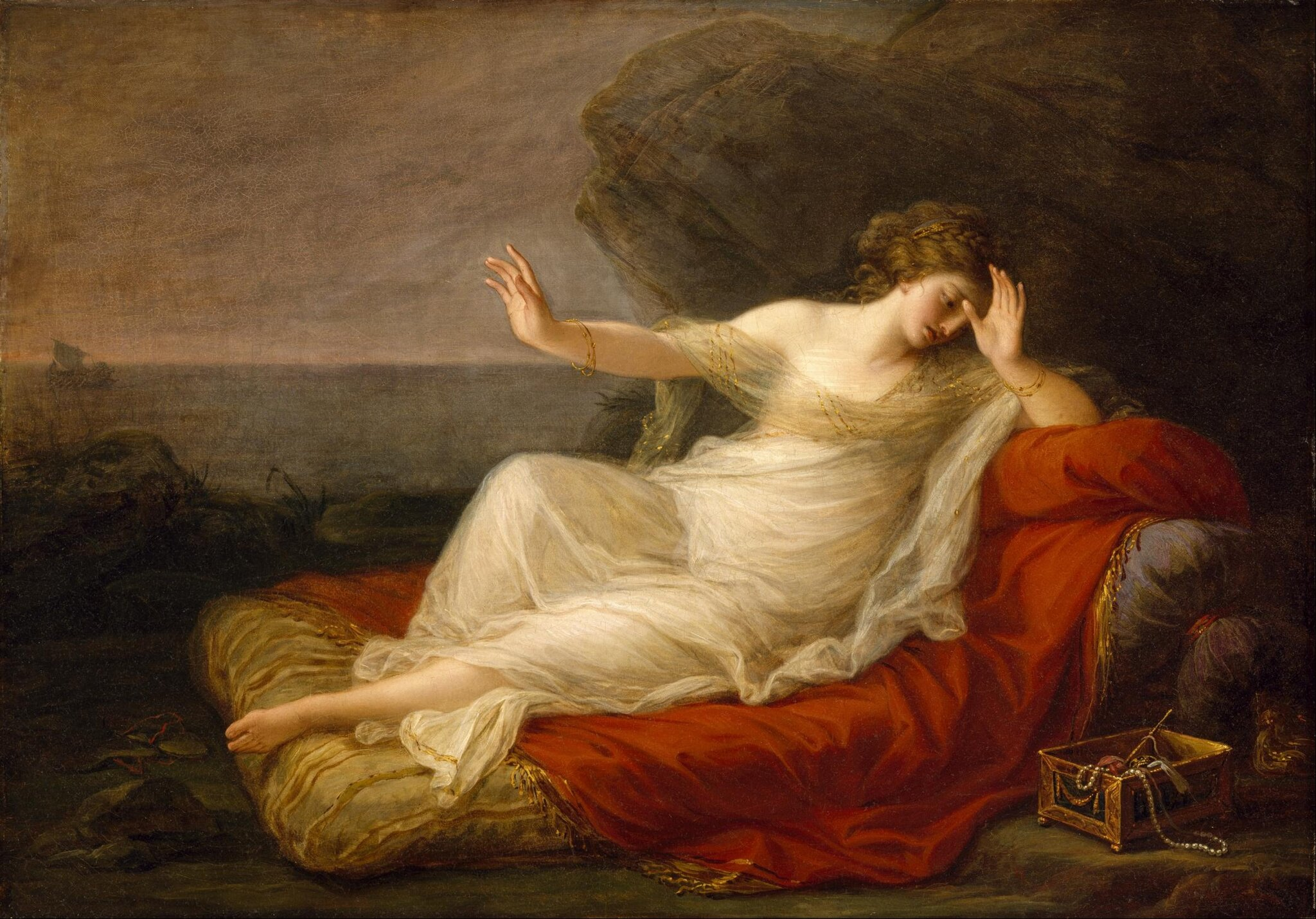 Ariadna opuszczona przez Tezeusza Źródło: Angelika Kauffmann, Ariadna opuszczona przez Tezeusza, 1774, olej na płótnie, Museum of Fine Arts, Houston, domena publiczna.