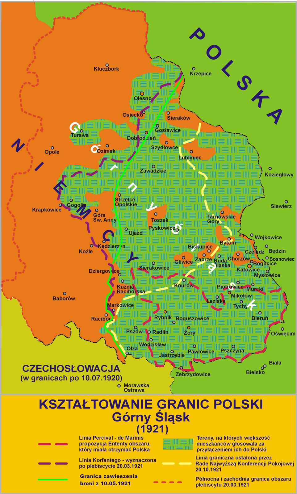 Kształtowanie granic Polski - Górny Śląski Źródło: Lonio17, Kształtowanie granic Polski - Górny Śląski, 2010, J. J. Tazbir Wielki Atlas Historyczny, Demart, Warszawa, 2008, licencja: CC BY-SA 4.0.