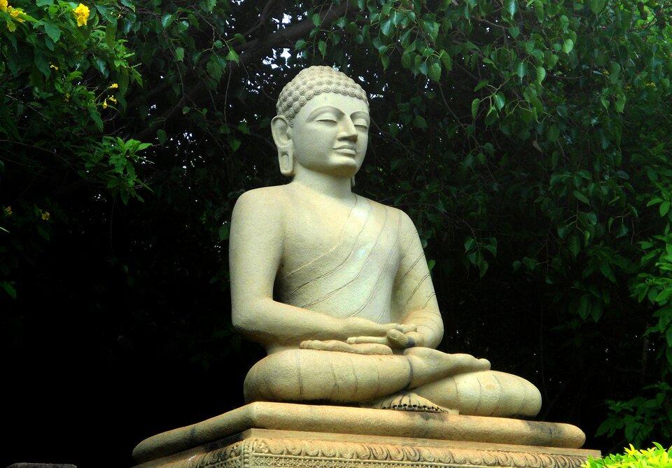 Na zdjęciu posąg Buddy wparku.