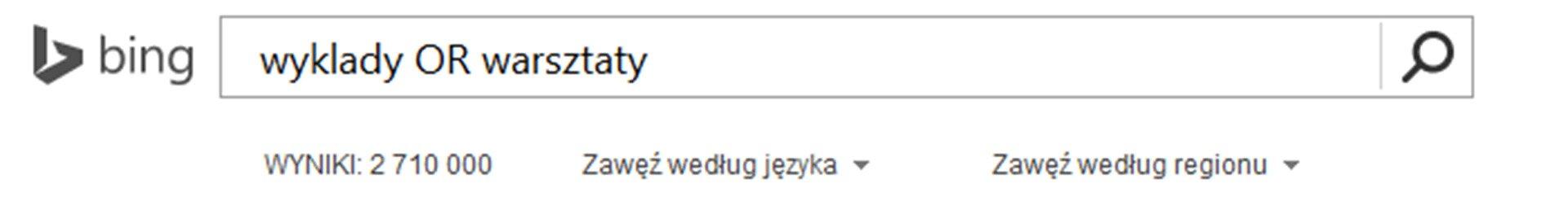 Zrzut paska wyszukiwarki Bing zwpisanymi słowami kluczowymi ioperatorem logicznym OR