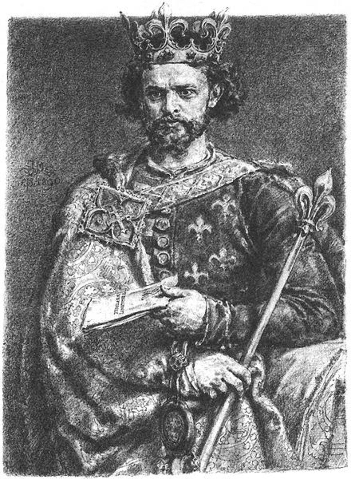 Rysunek króla Ludwika Węgierskiego. Ubrany wszatę królewską, zberłem wprawej dłoni iwkoronie na głowie. Ma kręcone włosy ibrodę.