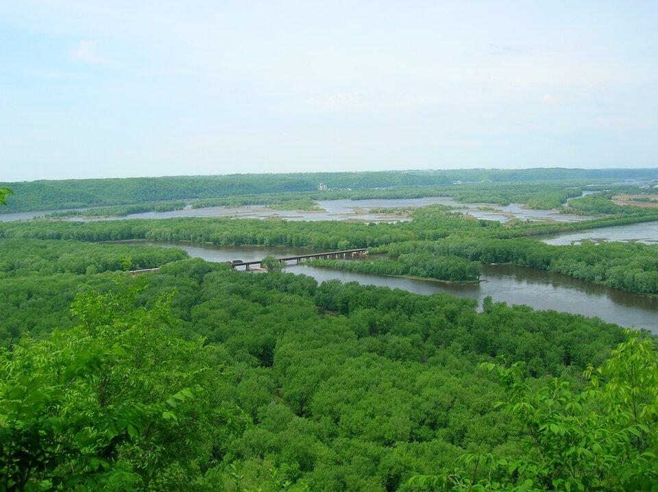 Na zdjęciu rozległy nizinny teren porośnięty lasami liściastymi, rzeka, most.