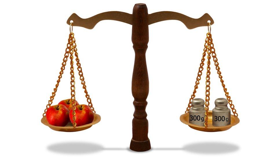 Rysunek wagi szalkowej. Na jednej szalce 3 jabłka, na drugiej 2 odważniki 300 gi300 g.