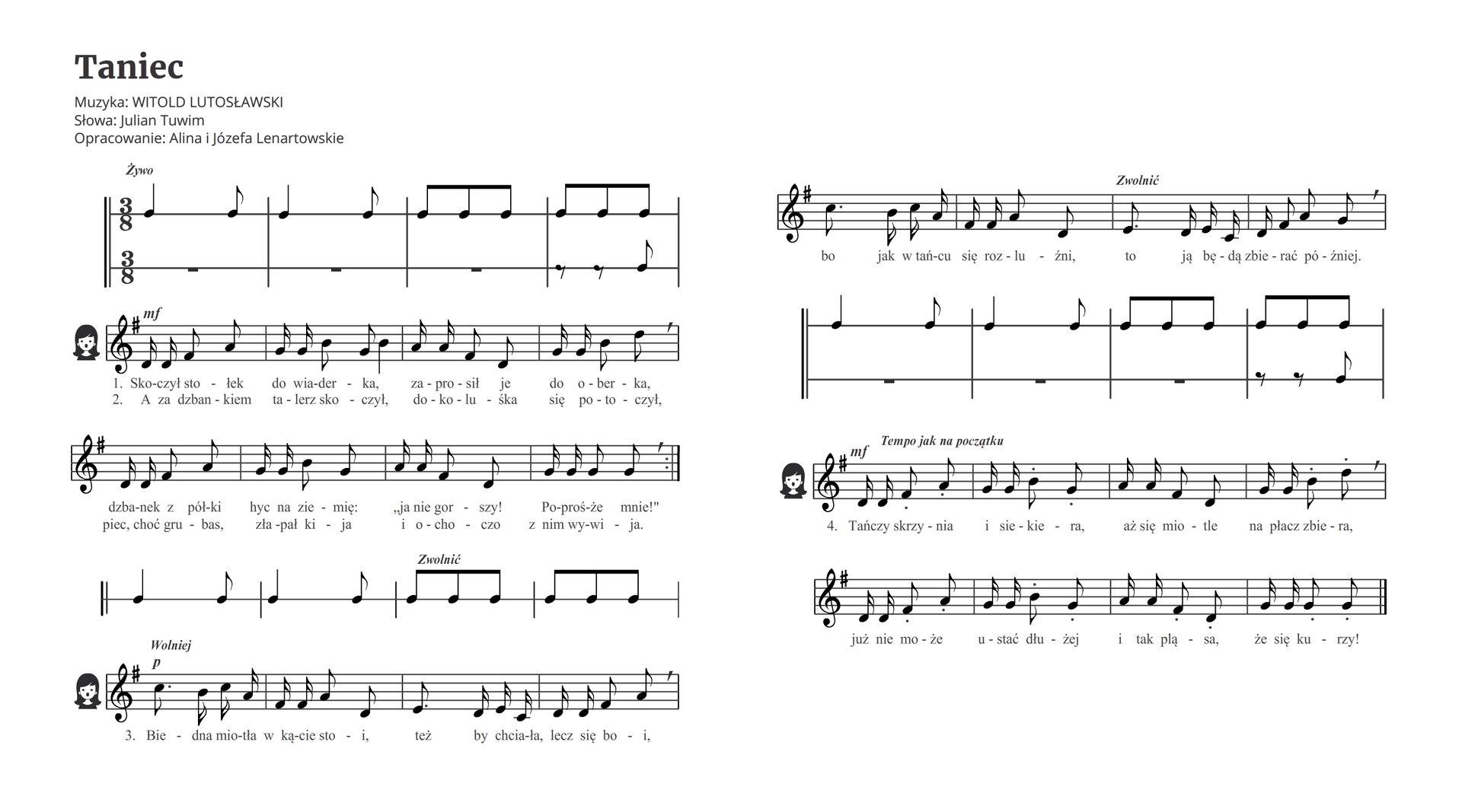 """Zapis nutowy utworu """"Taniec"""" Witolda Lutosławskiego. Wpierwszej linijce rytmiczny wstęp: ćwierćnuta ósemka, ćwierćnuta ósemka, 6 ósemek. Później zapis nutowy pierwszej idrugiej zwrotki. Później powtórzenie rytmicznego wstępu. Następnie zapis nutowy trzeciej zwrotki, który znacząco różni się od pierwszych zwrotek. Potem rytmiczna przygrywka womówionym już rytmie izapis czwartej zwrotki, identyczny jak zwrotek pierwszej idrugiej."""
