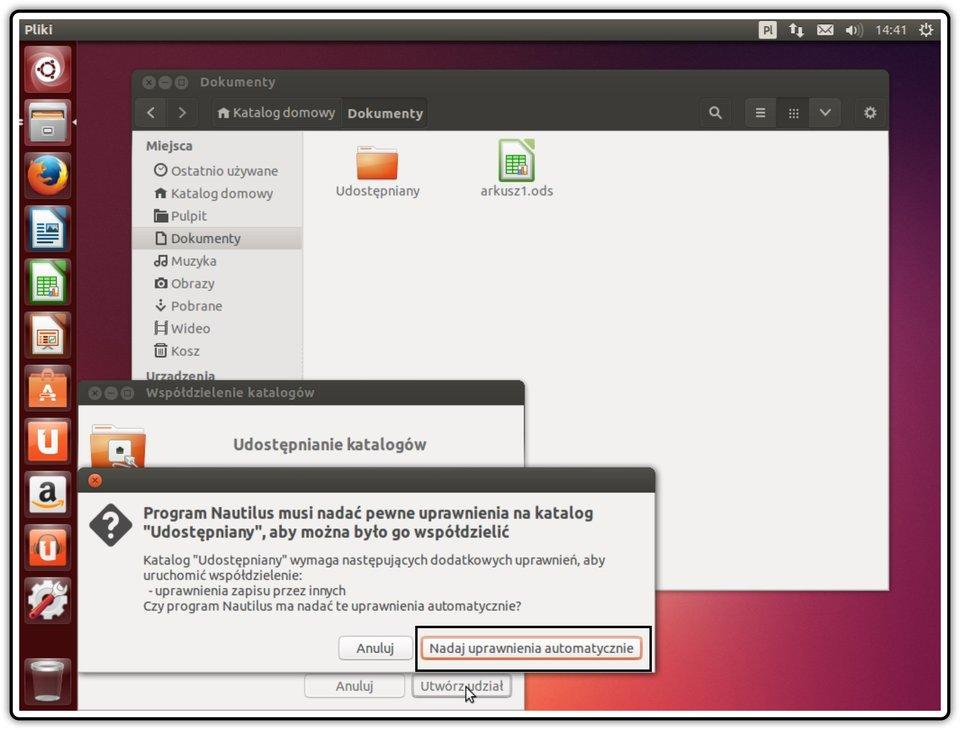 Ilustracja przedstawiająca: Krok 9 udostępniania zasobów wsystemie Linux Ubuntu