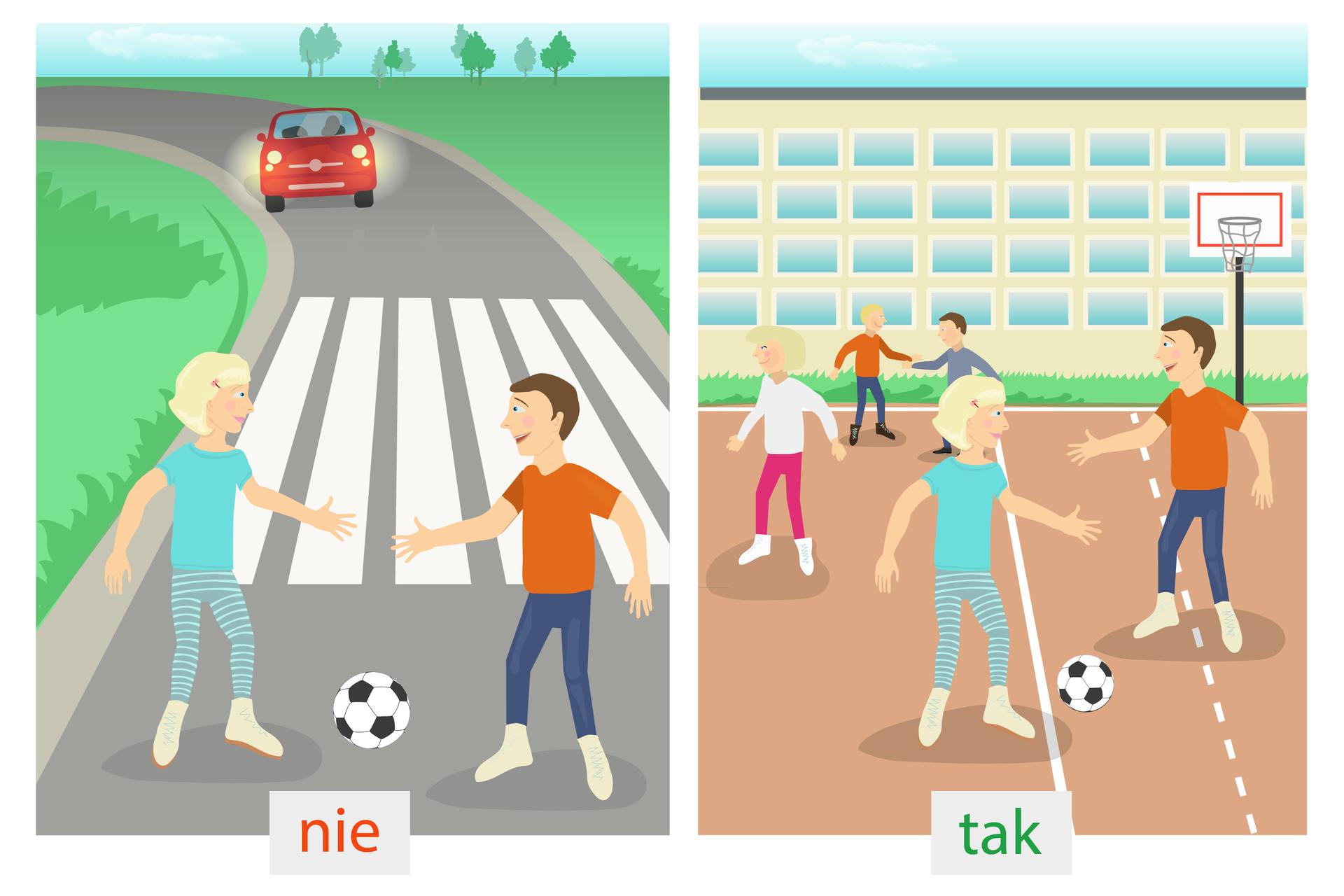 Trzeci rysunek: po lewej stronie dzieci grają wpiłkę przy jezdni. Po prawej stronie dzieci grają wpiłkę na boisku lub placu zabaw.