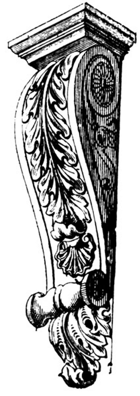 Ilustracja przedstawiająca ornament: konsola. Element dekoracyjny naszkicowany jest czarnym kolorem. Ornament kształtem przypomina kolumnę, na której widoczne są liście.
