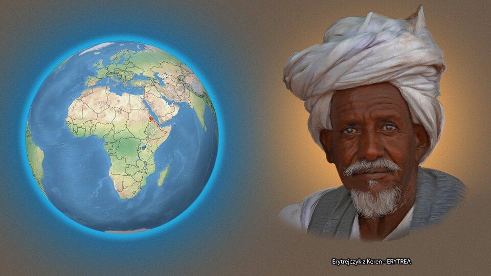 Na ilustracji kula ziemska zzaznaczonym czerwonym punktem - Erytrea. Obok twarz mężczyzny zsiwą brodą wbiałym turbanie. Podpis - Erytrejczyk zKeren.