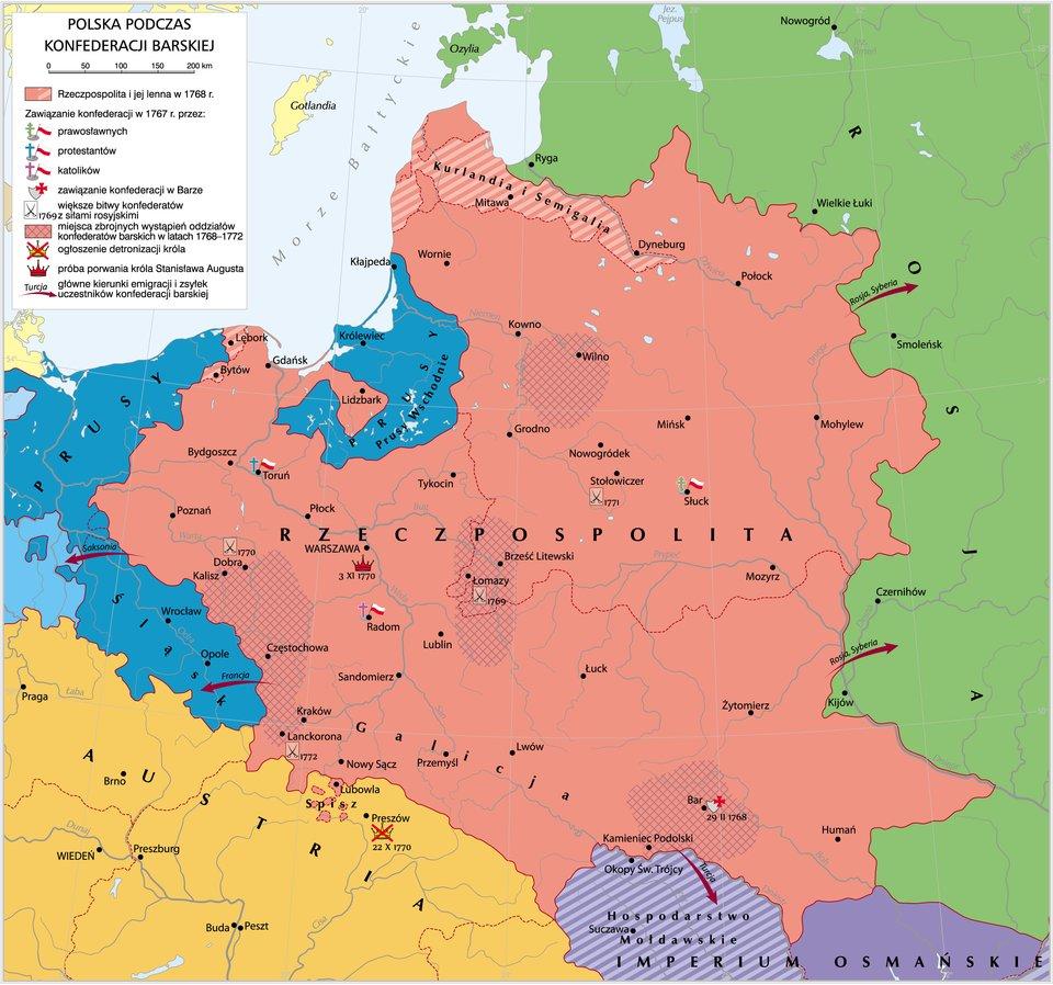 Konfederacja barska 1768-1772 Konfederacja barska 1768-1772 Źródło: Krystian Chariza izespół, licencja: CC BY-SA 3.0.