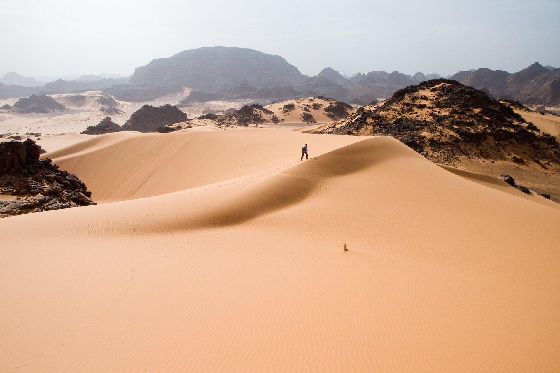 Wydma na pustyni piaszczystej. Wtle skaliste pagórki.