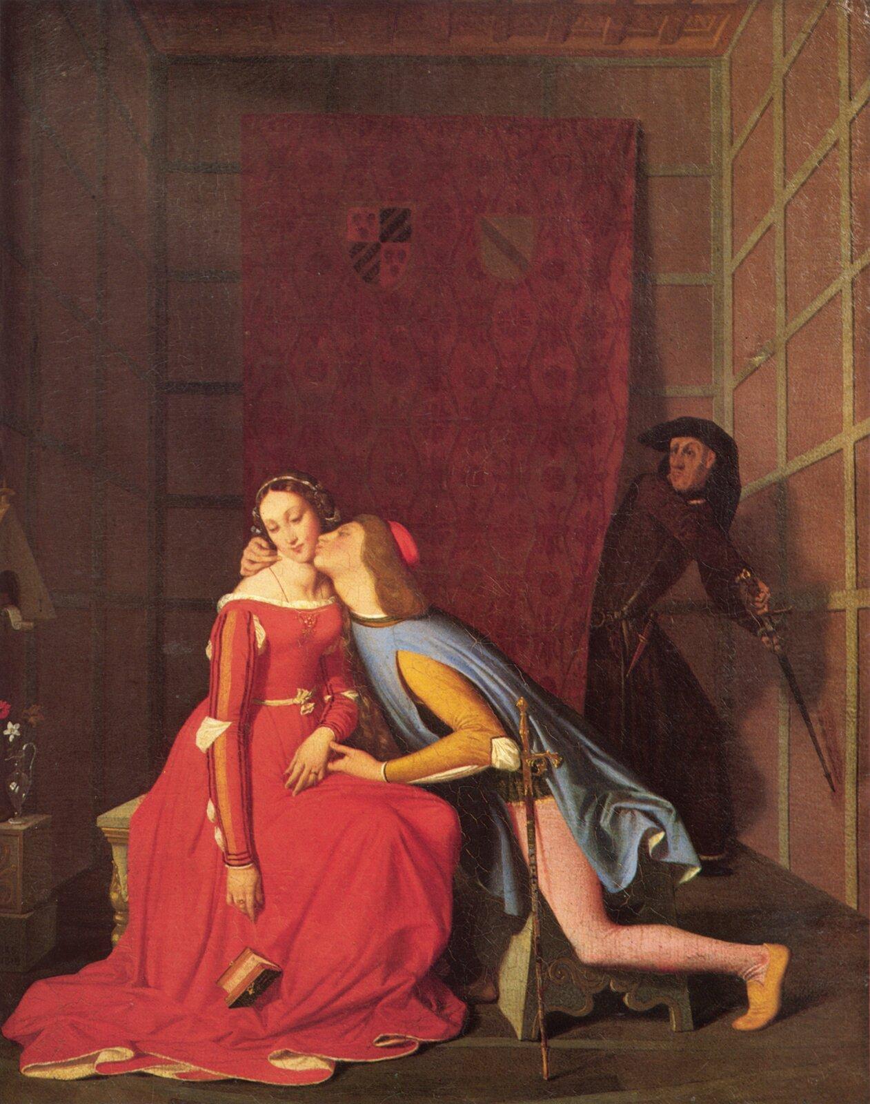 """Ilustracja przedstawia obraz Jeana Auguste Dominique Ingresa """"Francesca da Rimini iPaolo Malatesta"""". Na obrazie widzimy mężczyznę całującego kobietę wpoliczek. Za postaciami wisi na ścianie kotara, zza której wychodzi mężczyzna zmieczem uniesionym wgórę. Postacie na obrazie mają stroje zgodne zepoką."""