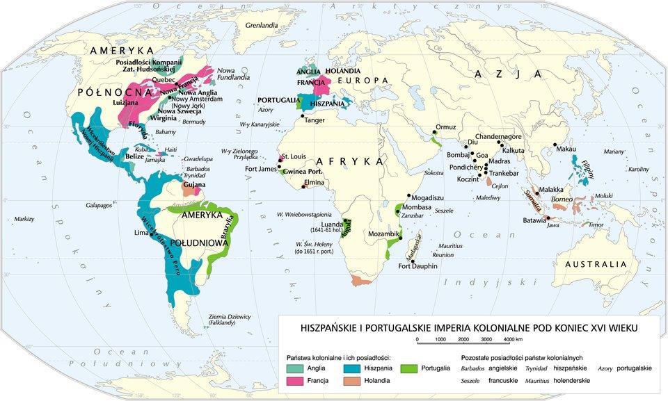Imperia kolonialne pod koniec XVI w. Imperia kolonialne pod koniec XVI w. Źródło: Krystian Chariza izespół, licencja: CC BY 4.0.